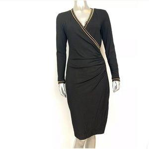 Cache Black Long Sleeve Embellished Bodycon Dress